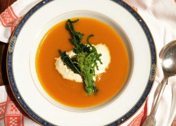 Pumpkin Soup with stracciatella and cime di rapa